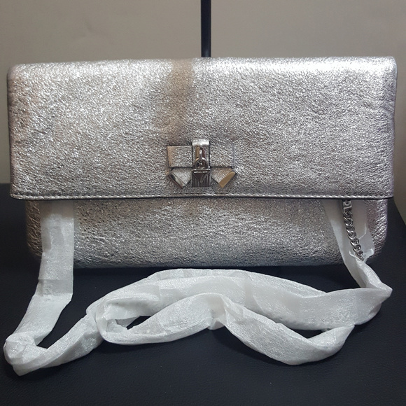 4704dcdf7b7a Michael Kors Everly Medium Fold Over Clutch Silver
